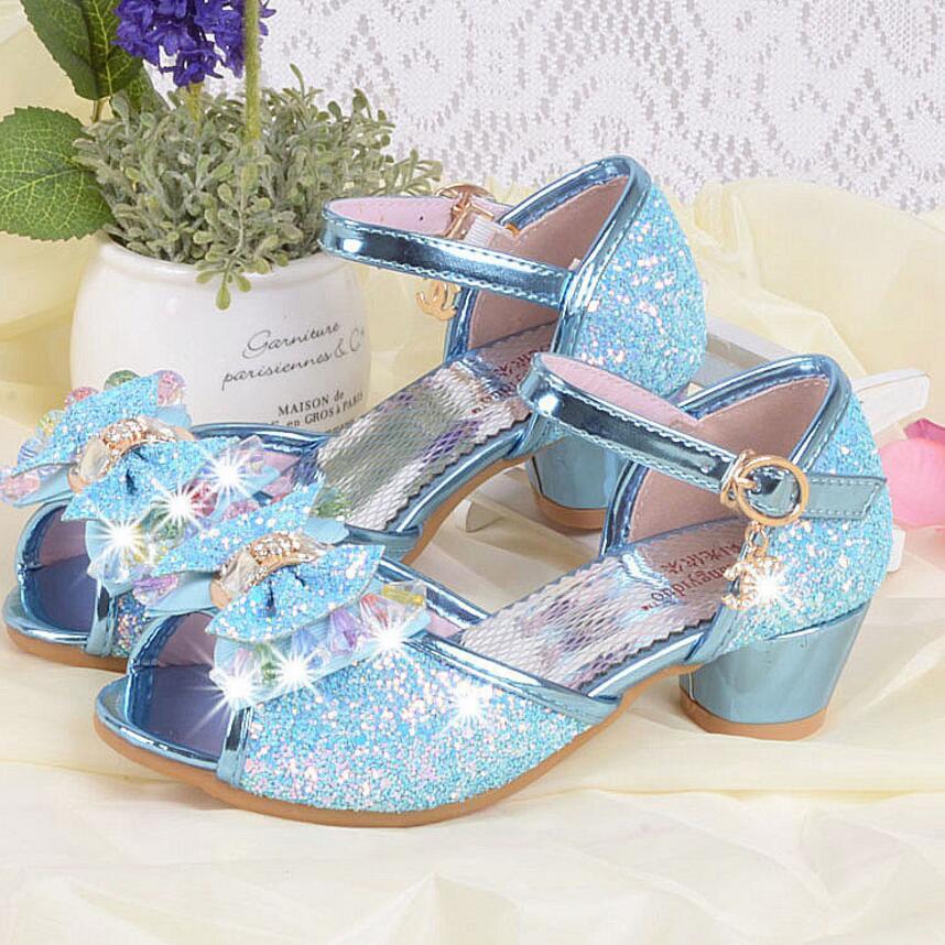 Buy children princess sandals kids girls for Girls dress shoes for wedding