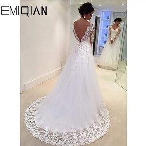 Image 2 - Дешевое свадебное платье, реальный образец, ТРАПЕЦИЕВИДНОЕ, с V образным вырезом, Кружевная аппликация, длинные рукава, в пол, размера плюс, свадебные платья