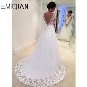 Image 2 - Pas cher robe de mariée réel échantillon a ligne col en V dentelle Appliques manches longues longueur de plancher grande taille robes de mariée