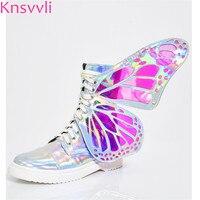 Волшебные Серебристые полусапожки, женская обувь с крыльями бабочки и боковой молнией, модная повседневная обувь на шнуровке, женские розо