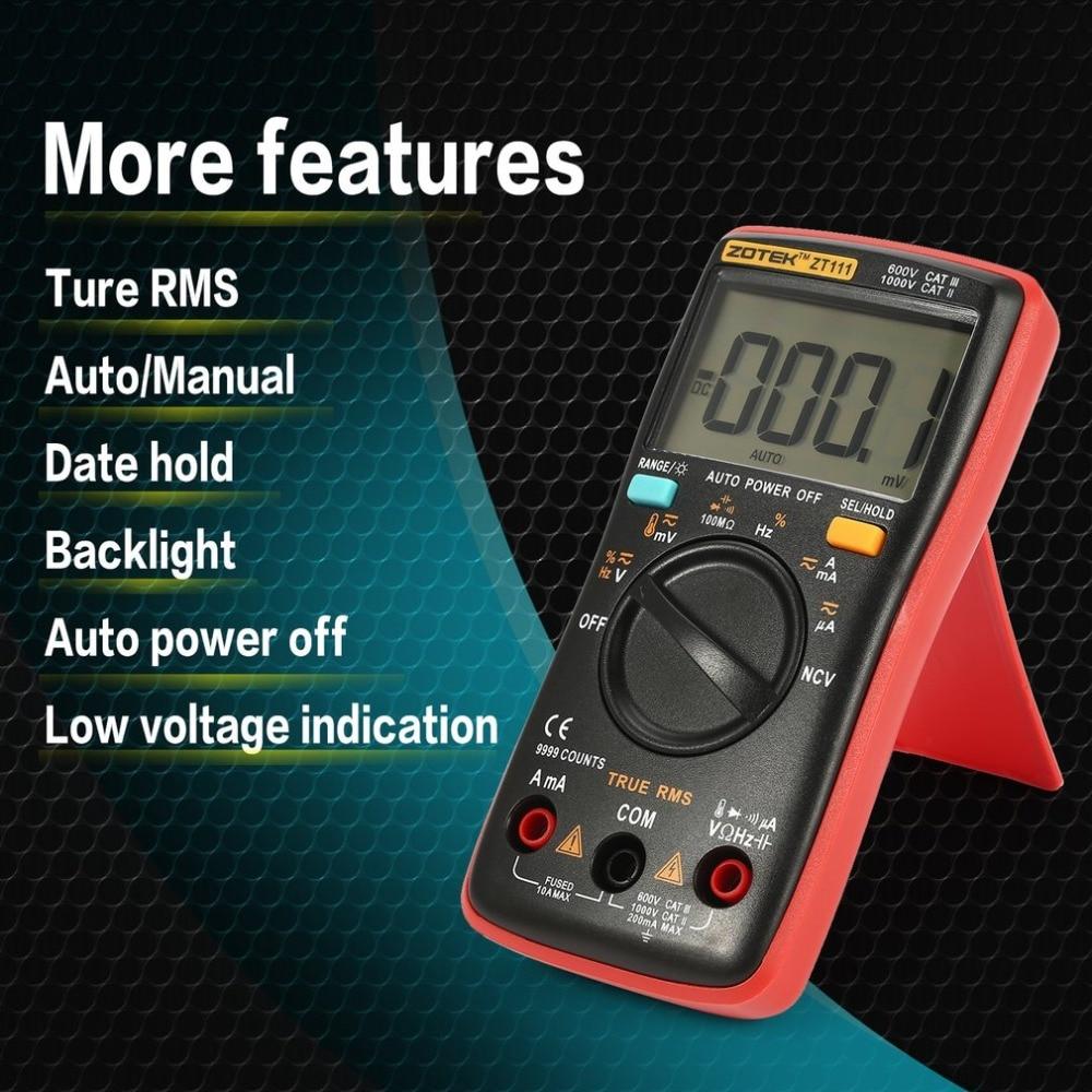 ZOTEK ZT111 Mini 9999 Counts Range Digital Multimeter AC/DC Voltage Current Tester with Temperature and NCV Measurement handheld counts with temperature measurement lcd digital multimeter tester xl830l without battery new ls d tool