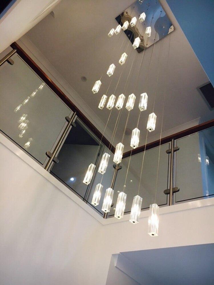 Cage d'escalier 20-25 pcs G4 led lustre éclairage Moderne Led long escalier pendentif lumières spirale escalier suspendu lampes grand cristal lampa