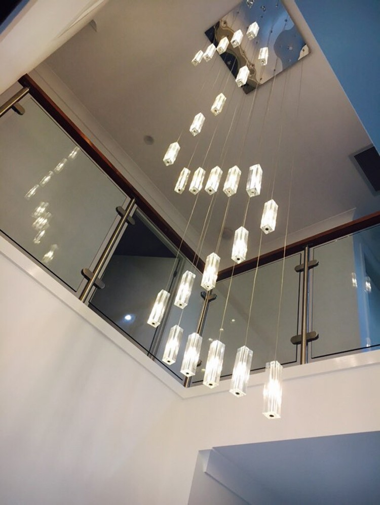 stairwell 20-25 pcs G4 led lustre lighting Modern Led long pendant lights spiral stair hanging lamps Large crystal pendant lamp modern led crystal pendant lights fixtures magic crystal ball lustre loft stairwell 12 crystal light meteor shower crystal lamp