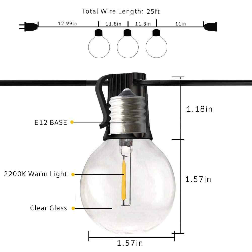 25PCS Clear Globe G40 Lamp Candelabra Screw Base Warm Incandescent Replacement Clear Glass led Lamp for G40 LED String Light