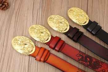 VOHIO Gold Dragon Designer Luxury Brand Belts for Mens Genuine Leather 100% Male Jeans Vintage Solid Brass Buckle oval big size