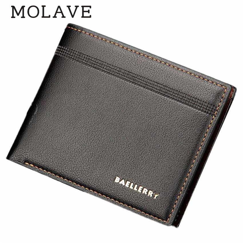 MOLAVE Wallets Wallet Male Solid CardHolder PU Leather Mens Fashion ID CardHolder Billfold PUrse Wallet Handbag Wallets May25