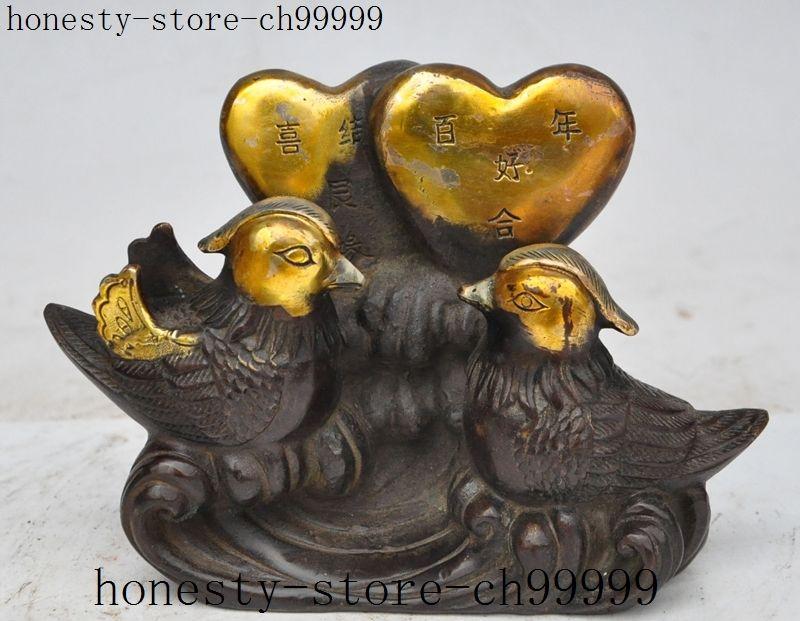 7china fengshui bronze gilt Mandarin duck Lovers Couple lucky auspicious statue7china fengshui bronze gilt Mandarin duck Lovers Couple lucky auspicious statue