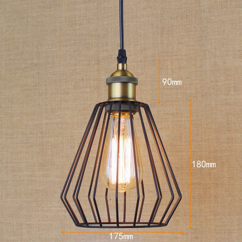 Illuminating Kitchen Lighting: Loft Retro Balck Industrial Metal Wire Pendant Lamp