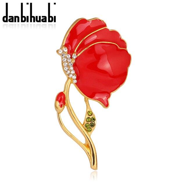 Красной Эмалью Золотой Тон Британский Мак Брошь Pin Цветок с Leaf Сувенир