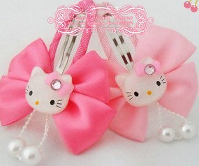 40 Pcs Hello Kitty Children S Hair Clip Baby Bow Korean Accessories Wafer Kids