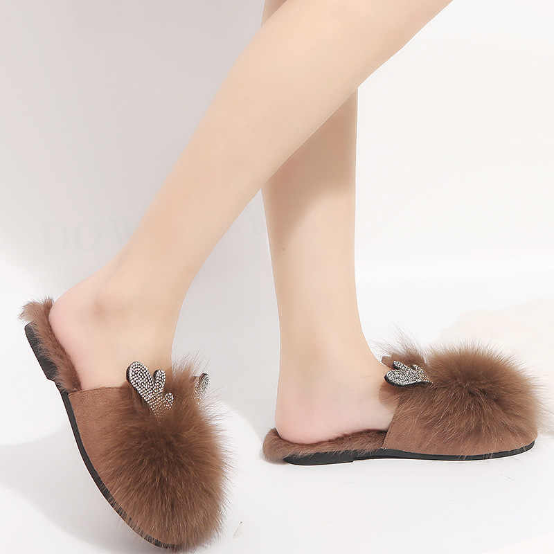 New Fashion home Slippers Women mules Fur slippers animals Slippers plush slippers Bottom Non-slip Indoor ladies slipper