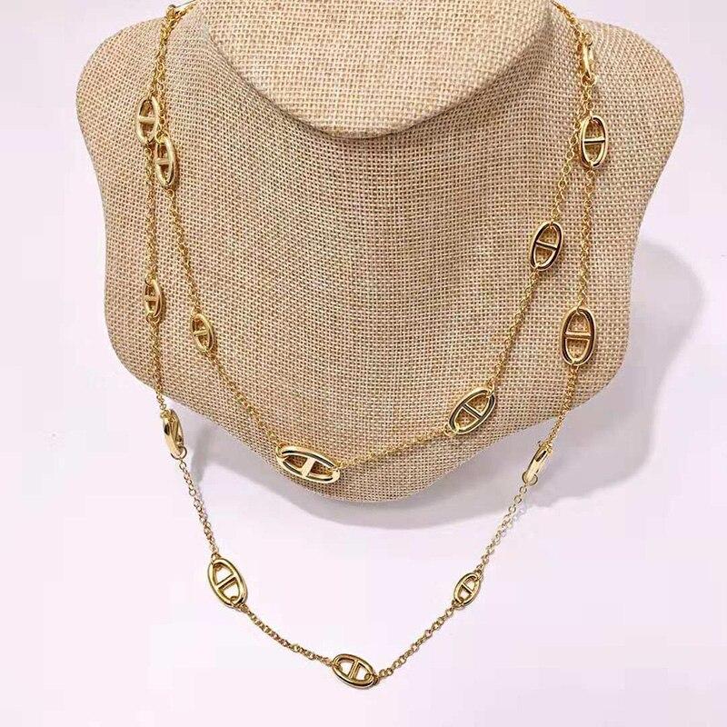 2018 Hot marque bijoux pour femmes longue chaîne collier chandail chaîne Long collier serrure pendentif cadeau d'anniversaire 119 CM