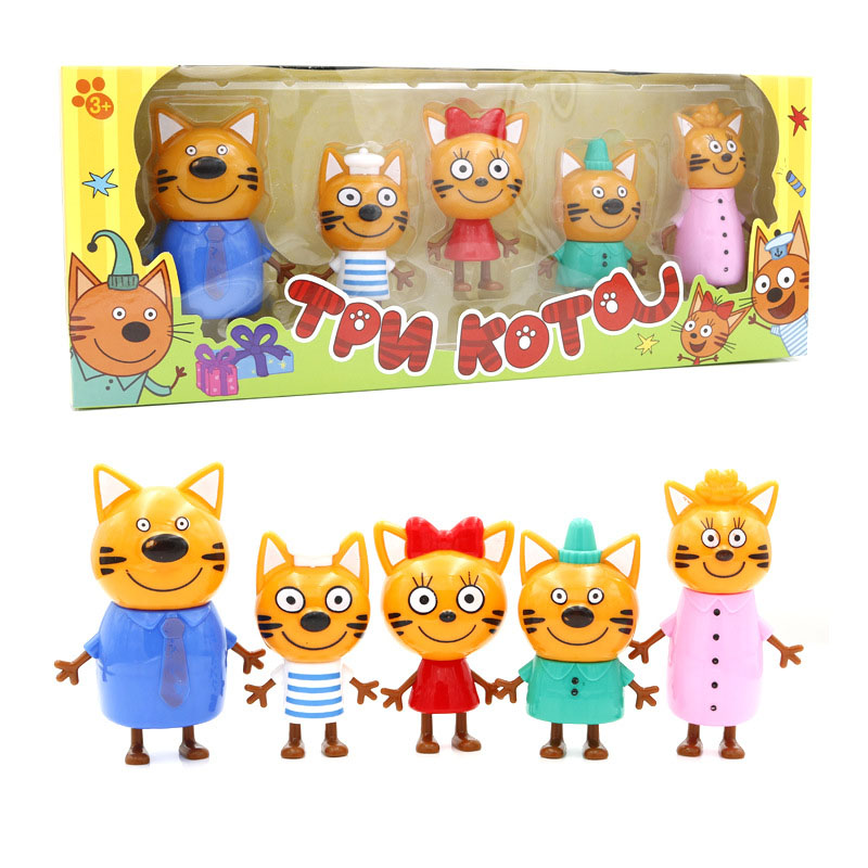 5pcs/lot Kittens Russian Happy Three Kitten Action Figure Toy Animals Cartoon Cat Model Doll Toy For Children Kid Christmas Gift cartoon character doll model desk ornament gift toy