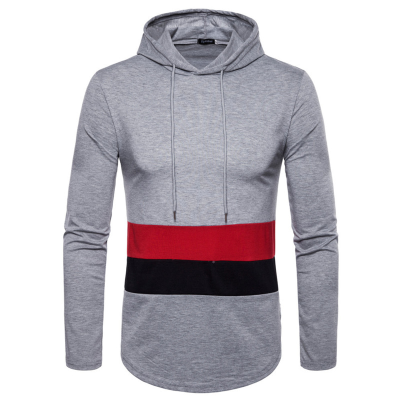 Mens Clothing T Shirts Autumn Winter New Long Sleeve Thin Hooded Fashion Tshirt Stitching Color Male Tops 3colour