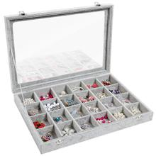 24 Grid Jewelry Tray Showcase Display Storage Earring display stand Silver jewelry box