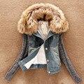 2016 nova mulheres \ primavera outono curto denim mulheres jaqueta de inverno fio fino grande gola de pele de algodão denim outerwear QW002