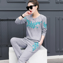2017 Spring New Ladies Track Suits Casual Pants Suits 2 Piece Set Women Cotton Embroidery Tops And Fashion Pencil pant Suit