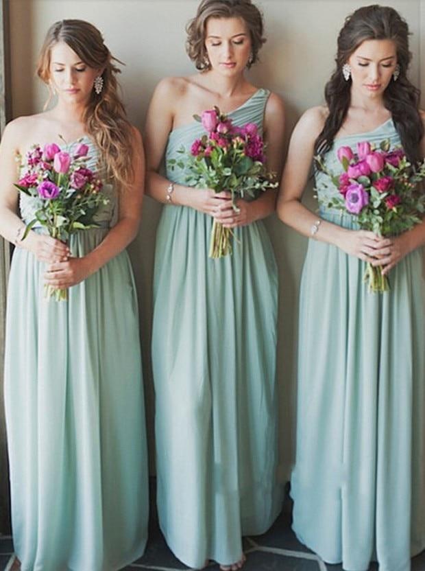 Elegant A-line Bridesmaid Dresses Long One Shoulder Mint Green Chiffon Party Dress For Wedding