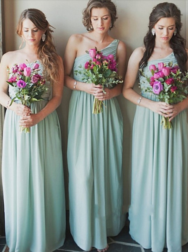 Elegant A-line   Bridesmaid     Dresses   Long One Shoulder Mint Green Chiffon Party   Dress   For Wedding