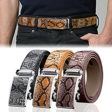 New Arrival Men Automatic Buckle Ratchet Belt Leather Snake Skin Embossed Exact Fit Gift