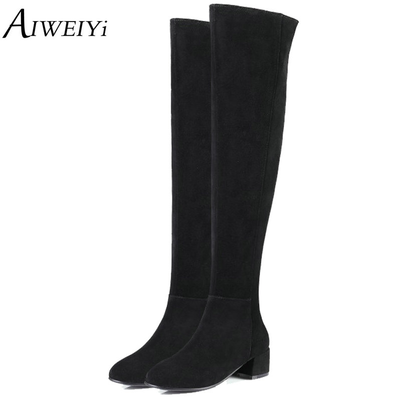 AIWEIYi Over The Knee Faux Suede Snow Boots For Ugs Women Winter Boots Casual Thigh High Boots Shoes Woman Zapatillas Mujer womens lace up over knee high suede women snow boots fashion zipper round toe winter thigh high boots shoes woman