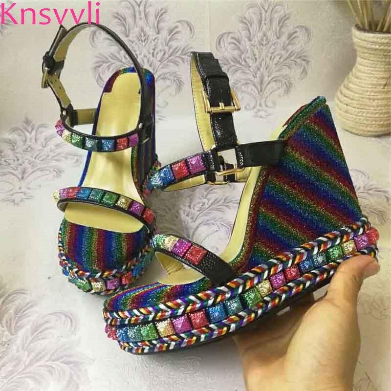 Knsvvli date noir en cuir plate forme sandale chaussures d'été femmes T sangle fond épais talons hauts compensés chaussures Sandalias Mujer-in Sandales femme from Chaussures    2