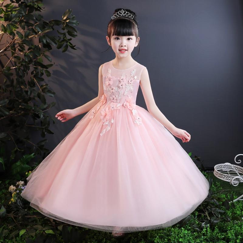 Princess Party Girl Full Dress Floral Clothes Children Vestdio Belt Tie Mesh Student Formal Dress 6 10 16 Years Girls Kids Dress