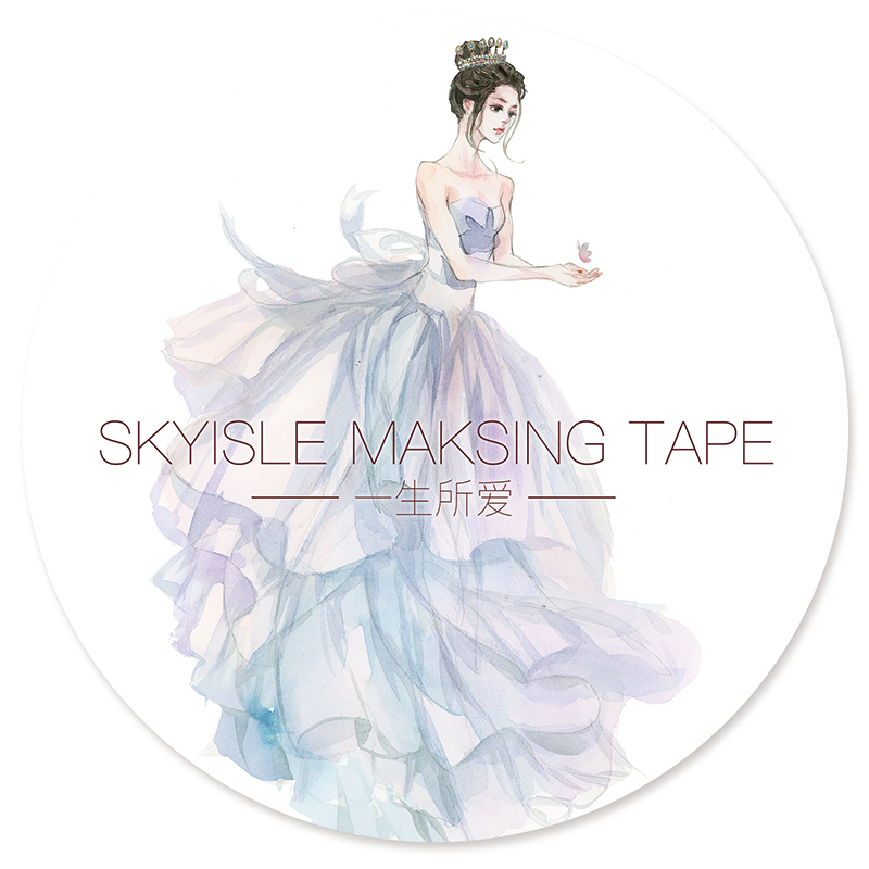 8.5cm*7m Beautiful Lady Wearing Dress Design Masking Tape Water Color Deco Washi Tape DIY Scrapbooking Stickers Cute Stationery geparlys beautiful lady