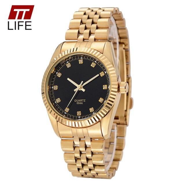 2016 TTLIFE relojes mujeres de los hombres de moda casual reloj reloj de acero llena de negocios amante pareja 30 m impermeable relojes de mujer reloj
