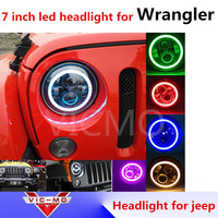 7Inch Round Led Headlight For 97 16 Jeep Wrangler With Halo Angel Eye DRL Turn Signal