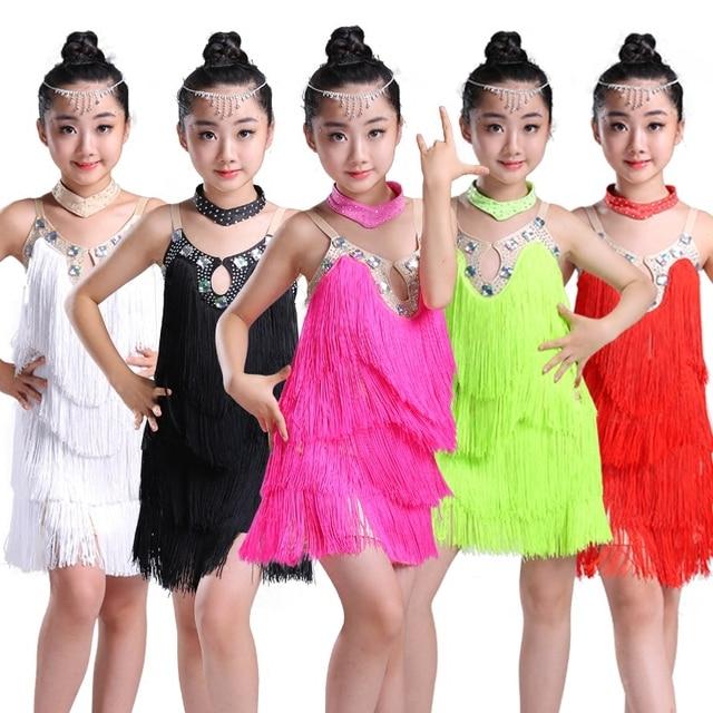 cd6ad2e2fffd0 Diamond Tassel Latin Dance Dress For Girls Salsa Kids Competition Primary Children  Samba Tango Salsa Fringe Ballroom Dresses