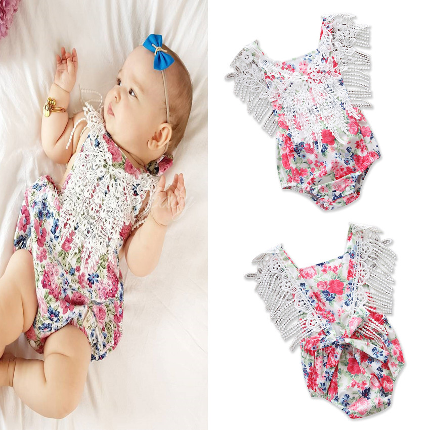 Baby Girl Clothes 2018 Little Girls Printed Floral Rompers Todder Lace Tassel Jumpsuits Babies Princess Rompers Baby Clothes