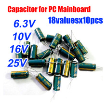 18valuesX10pcs=180pcs 6.3V/10V/16V/25V Aluminum Electrolytic Capacitor  for PC Mainboard Assortment Kit