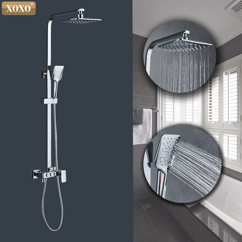 XOXO modern style automatic button copper chromium cold water and hot water shower faucet set height