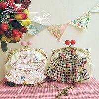Vintage Handmade Lolita Cosplay JK Uniform Accessories Coin Purse DIY Bow Dress Design Princess Messenger Bag Cute Handbags