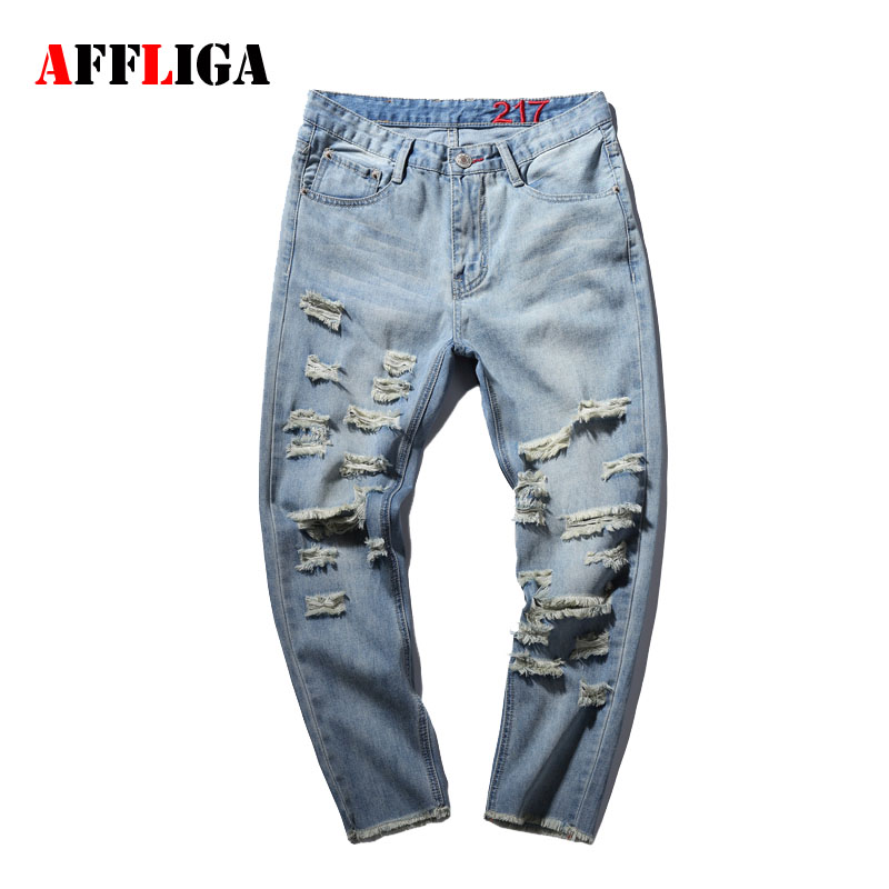 Hole Metrosexual Straight Destroyed Jeans Brand Casual Slim Ripped Jeans Homme Retro Men s Trousers Denim