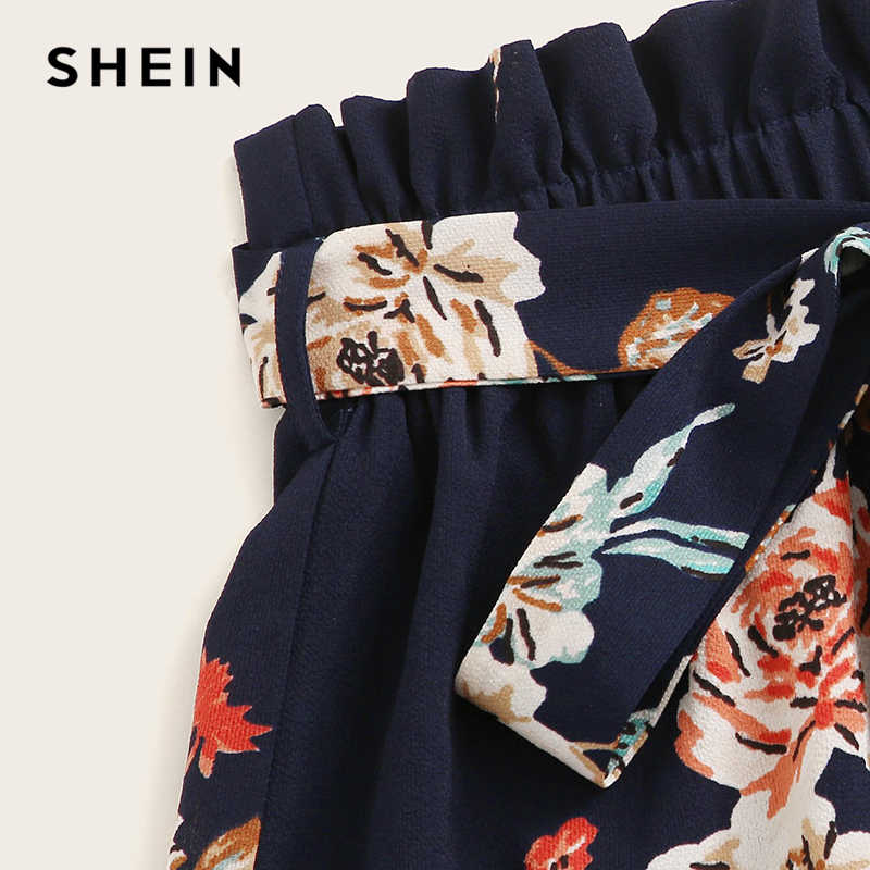 SHEIN Paperbag Taille Floral Print Belted Shorts 2019 Navy Boho Hohe Taille Elastische Taille Frauen Breites Bein Lose Sommer Shorts