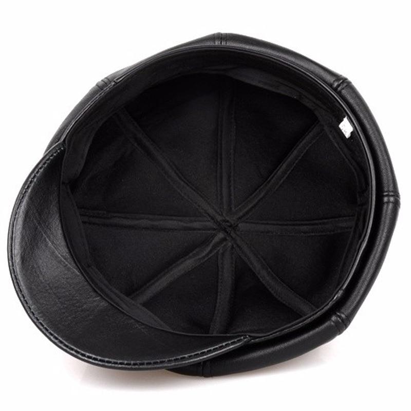 Svadilfari Offer 2018 Winter Top Quality Sheepskin Leather Newsboy Cap Octagonal Benn Painter Hat Women For Men 5