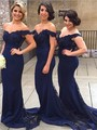 Free Shipping Off Shoulder Lace Chiffon Appliques Tulle Back Bridesmaid Gowns Party Navy Mermaid Bridesmaid Dress