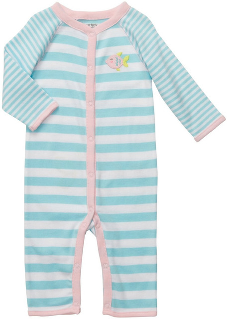 54d56bcee Brand Carter s Baby girl s newborn cotton striped sky blue pink fish ...