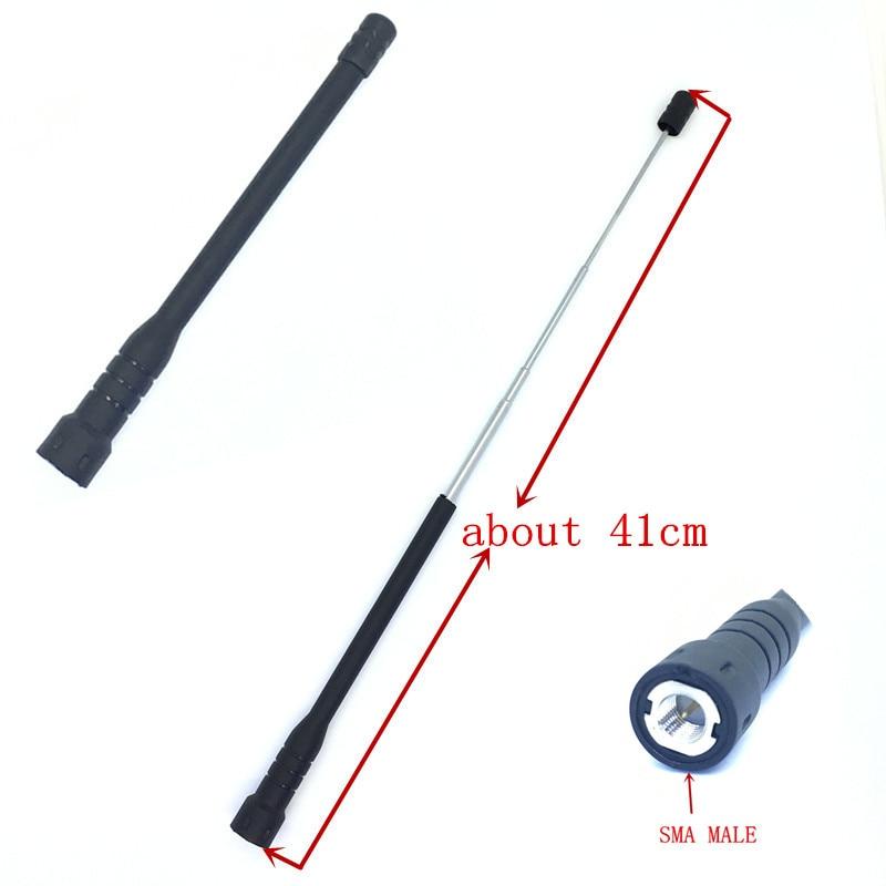 Honghuismart Télescope antenne à haut gain SMA Mâle UHF VHF UV double bande 144/430 mhz pour yaesu tonfa linton talkie-walkie