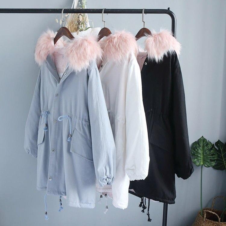 Grand Lâche Noir Section Longue Veste Coton Femmes Démonté bleu Être Manteau D'hiver blanc Chandail Modèles Peut Corée AwnEE8