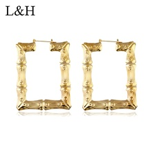 2018 Punk Style Gold Silver Bamboo Patterned Hoop Earrings Big Square Hip-Hop For Women Statement Jewelry Brincos