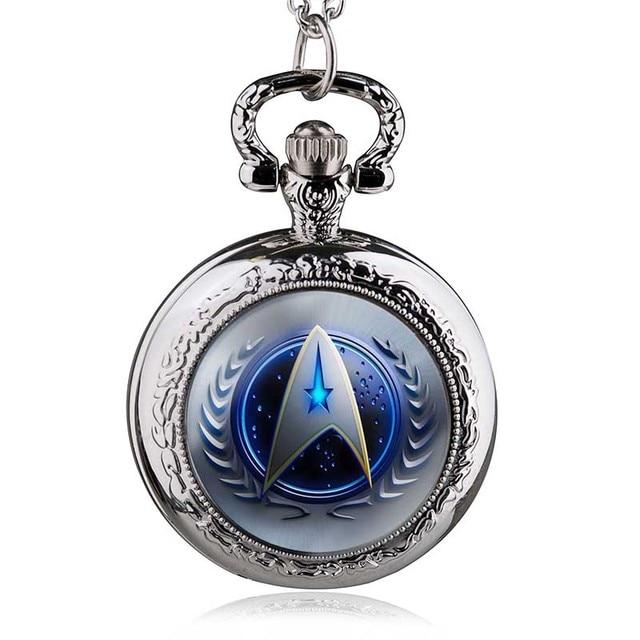 Fashion Movie Theme Star Trek Pocket Watch Retro Bronze Pendant Necklace Brass Q