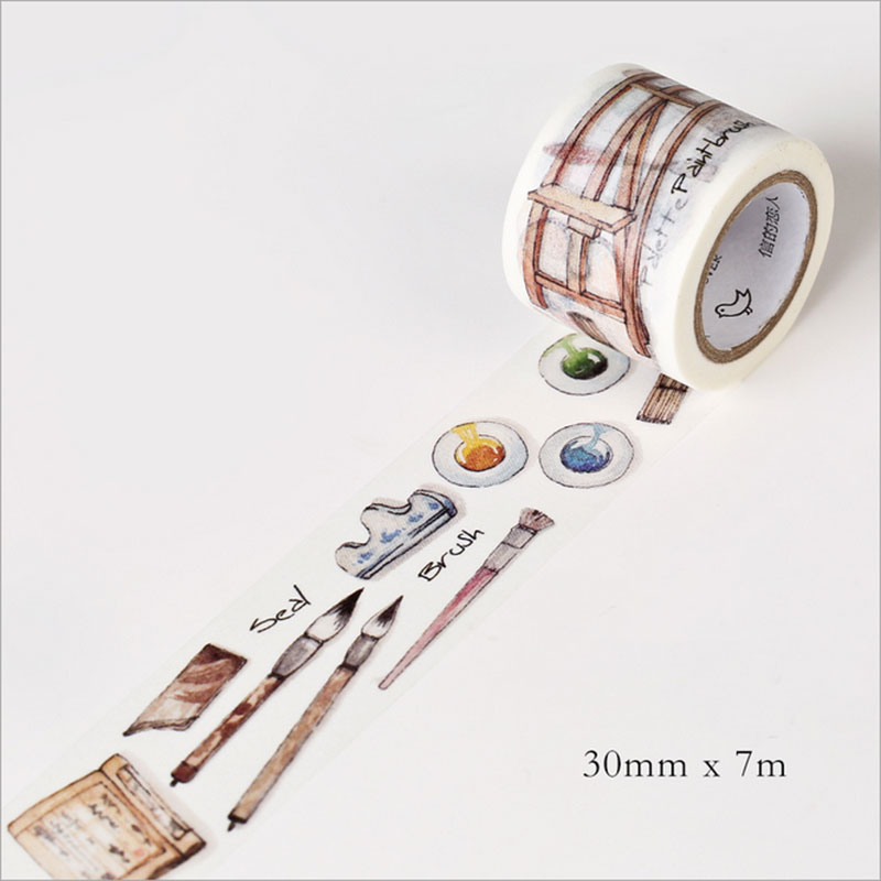 30mm*7m Drawing washi tape DIY decoration tape scrapbooking planner masking tape office adhesive tape Diary Decoration