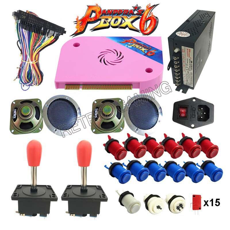 Kit d'arcade avec boîte Pandora 6 PCB 1300 en 1 Jamma alimentation bouton joystick américain pour bricolage Machine de jeu d'arcade
