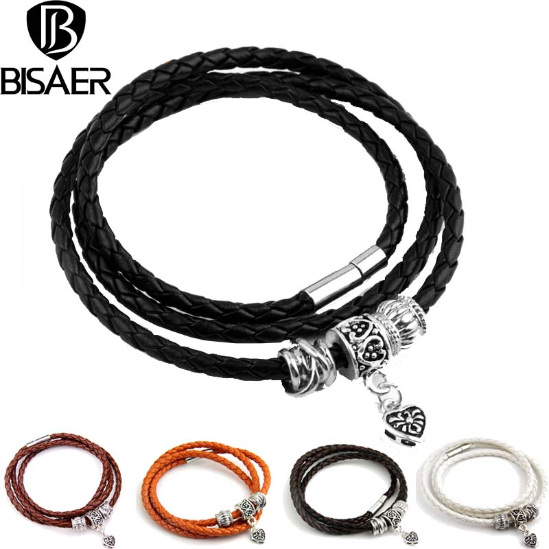 BISAER Genuine Leather Bracelets for men Heart Clasp Trendy Rope Chain Silver Plated Fem ...