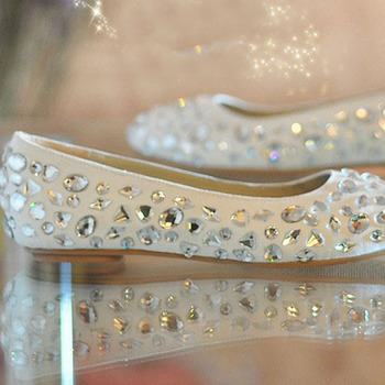 Dazzing Wedding Dress Shoes Fashion Flat Heel Bridal Formal Dress ShoesGlitter Dancing Party Prom Pageant Event Shoes