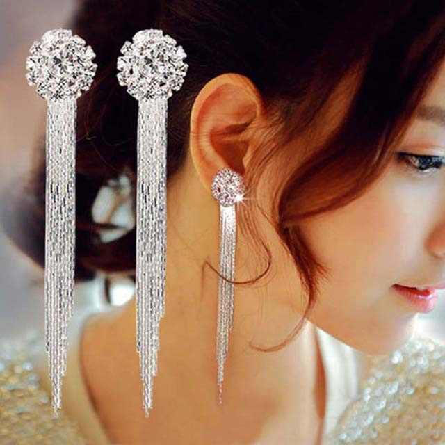 Korean Personality Temperament Crystal Tassel Earrings Bridal Earrings Oorbellen Brincos Earrings For Women Long Earrings