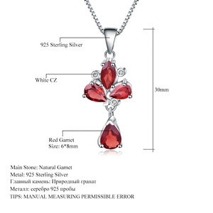 Image 5 - GEMS BALLET 3.42Ct Natural Red Garnet Flower Pendant 925 Sterling Silver Necklaces & Pendants Fine Jewelry For Women Wedding